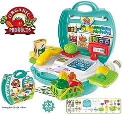 Decor Express Supermarket Cash Counter Suitcase Pretend and Play Set - 23 Pcs Set for Kids