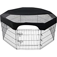 Aoccy 24 Inch Pet Playpen Cover 8 Panels Octagonal Pet Fence Mesh Cover Dog Playpen Sun Protection Shade Cover…