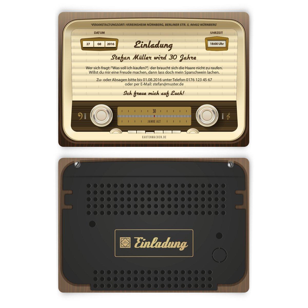 Einladungen (30 Stück) Zum Geburtstag Als Altes Radio Vintage Retro 60er  Einladungskarten: Amazon.de: Bürobedarf U0026 Schreibwaren