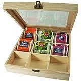 Incutex scatola di immagazzinaggio legno, scatola tè bustine, scatola tè finestra, scatola tè legno con 9 scomparti e…