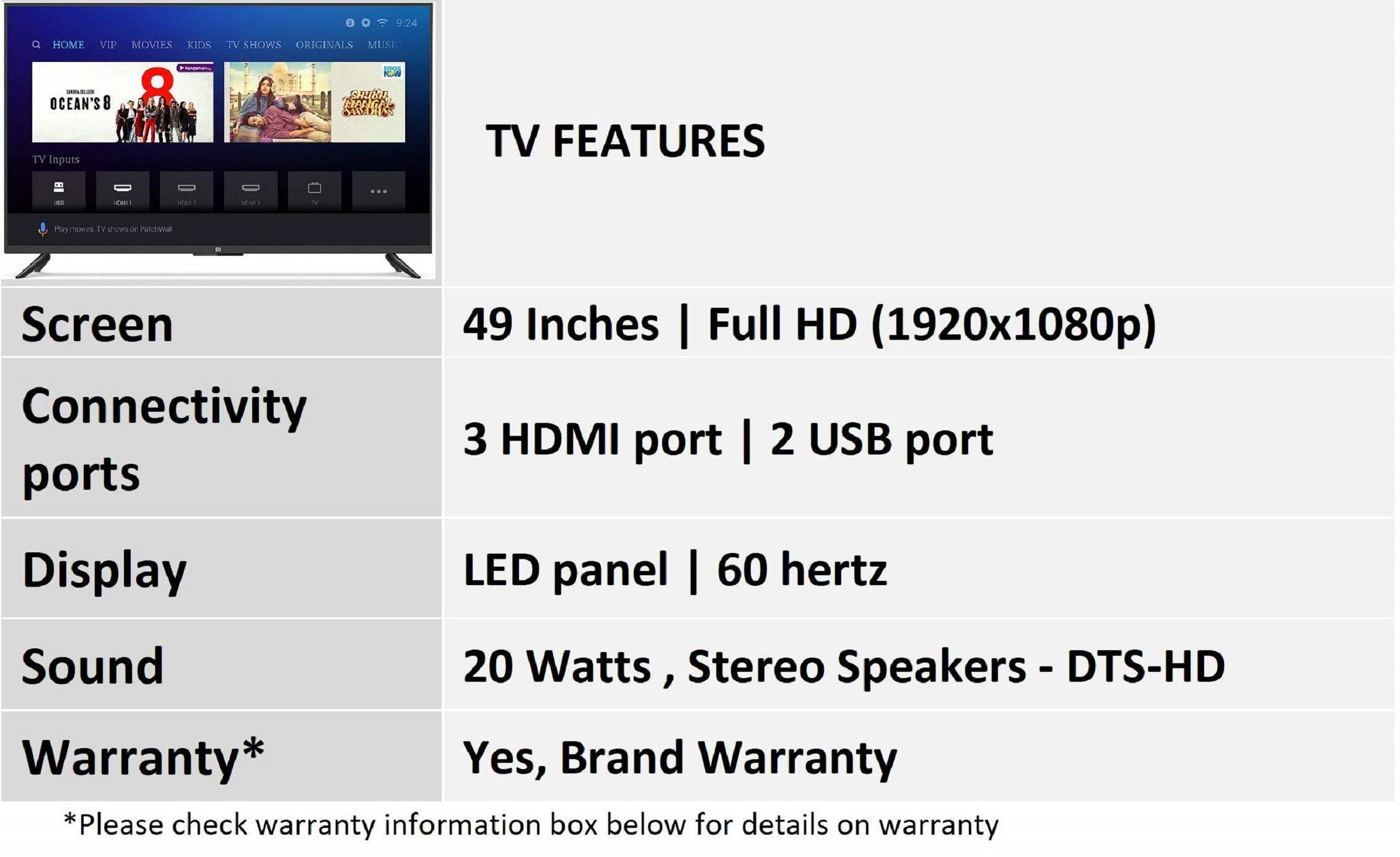 Mi LED TV 4A PRO 123 2 cm (49) Full HD Android TV (Black