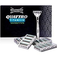 Wilkinson Sword Quattro Titanium - Confezione da 1 Rasoio da Uomo + 16 Lame di Ricambio - Confezione adatta alla buca da…