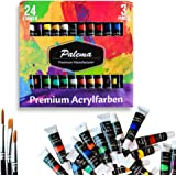 Acrylic Paint Set 24 Tube 3 Brushes Water Based Non Toxic for Artists Hobby Kids Adults Crafts Art School Supplies Profession