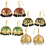 Spargz Combo of 4 Pair Traditional Meenakari Gold Plated Jhumki Earrings for Women