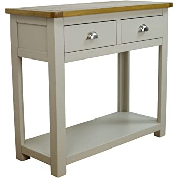 ccdca93edd7d Wellington Painted Oak Grey 2 Drawer Console Table   Shelf - With Solid Oak  Top