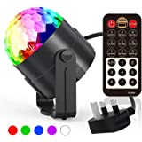 DJ Disco Ball Lights LED Party Night Sound-Activated/&Remote-Control Mini Crystal Magic Strobe Rotating Ball Mirror Projector Lamp Festival Stage Atmosphere 3 Colors/&3W