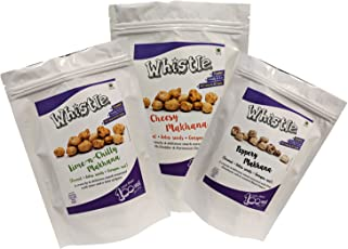 Whistle Roasted Makhana, Jain Variety Pack: Lime-n-Chilly + Cheesy + Peppery, 60gms/Pack (Pack of 3), No Onion No Garlic, Crunchy, Healthy Snack