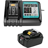 Ersat Makita - Caricatore 18 V con batteria 5,0 Ah per radio da cantiere Makita DMR104 DMR105 DMR106 DMR102 DMR109 DMR108 DMR