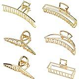 6 Stück Klaue Clips Haarklammern für Frauen Mädchen Metall Goldene rutschfeste große Haarklauenclip rutschfeste Haarspangen m