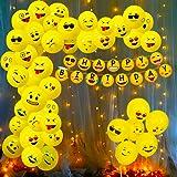 Party Propz Emoji Theme Birthday Decoration Kit Combo - 52Pcs Banner, Balloon, Led Light Set for Kids, Boys,Girls Party Suppl