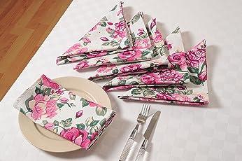 Swayam Libra Printed 6 Piece Cotton Dinner Napkins - Pink