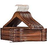 HOUSE DAY Cintres en Bois Paquet de 32 cintres en Bois Crochet en Or Rose Crochet Robuste pour vêtements Cintres en Bois de F