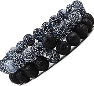 Lot De 2 Bracelets 7 Chakras Alik'S Pierres De Lave Naturelles Perles D'Energie Bracelet Extensible Elastique Tibetain Bouddhiste Huile Essentielle Énergétique Bien Être