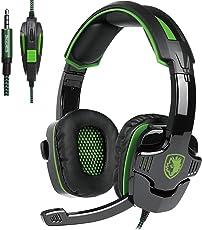 SADES SA930 3.5MM Stereo Surround Gaming Headset Mit Mikrofon Lautstärkeregelung Over-Ear Kopfhörer Wired Für PC/MAC/PS4/Smartphone/Tablet (Schwarz&Grün)