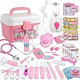 Anpro 46pcs Kit Maletin de Doctor y Enfermera,Juegos de Niños,Kit de Dentista con Estetoscopio y Abrigo,Regalo para Niños en