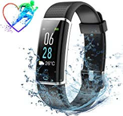 Mpow Fitness Tracker IP68 ID130Plus Display LCD Colorato con Luminosità a 5 Livelli, 14 Modalità di Allenamento, Previsioni del Tempo, Cardiofrequenzimetro Contapassi, Controllo della Fotocamera, Nero