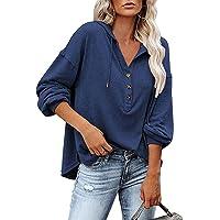 LIUPMWE Manches Longues Sweat-Shirt pour Femme Capuche Pull Chic boutonné avec Cordon de Serrage Casual Sport Hoodie…