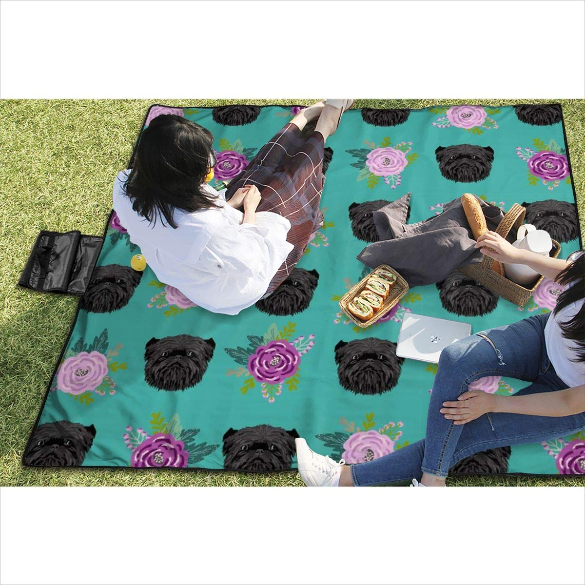 BigHappyShop Picnic Blanket Affenpinscher Florals Dog Dog Heads Purple Floral Waterproof Extra Large Outdoor Mat Camping Or Travel Easy Carry Compact Tote Bag 59″x57″