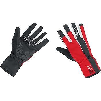 GORE BIKE WEAR Power Windstopper Soft Shell - Guantes de ciclismo para hombre, color negro/rojo, talla 7