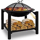 Deuba | Brasero de Jardin • Ø 55 cm Rond • Acier • avec tisonnier et Compartiment de Rangement pour Bois | Barbecue…