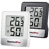 ThermoPro TP49 Digitale mini-thermo-hygrometer, set van 2 binnenthermometers, hygrometer, temperatuur en luchtvochtigheid, me