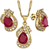 """RIZILIA Pear Cut Red Ruby Yellow Gold Plated Jewelry Set, Pendant with 18"""" Chain Stud Earrings"""