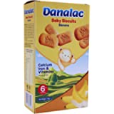 DANALAC Baby Biscuits Banana 120g (Pack of 6) Finger Food Snacks for Toddlers 6+ Months with Calcium, Iron and Vitamins