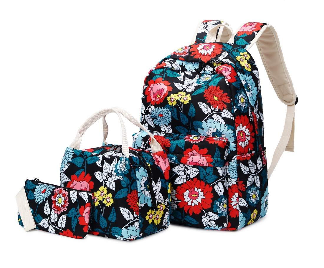 71k2uai1S9L - Joymoze Mochila Escolar para Niña Adolescente con Bolsa Térmica para el Almuerzo y Estuche Flor Azul