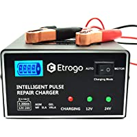 Chargeur de Batterie de Voiture 12V 24V 10A Chargeur de Batterie Rapide Chargeur d'impulsions avec écran à Barre LED…