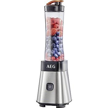 AEG PerfectMix SB 2400 Mini Mixer / Smoothiemaker mit 0,4 PS-Power-Motor (bis zu 23.000 U/min, bruchfeste 0,6 l BPA-freie Tritan-Trinkflasche, Standmixer mit gebürstetem Edelstahlgehäuse)