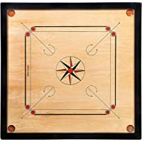NHA Sports Wooden Brown Color 32 inch Carrom Board with Coins, Striker & Powder.
