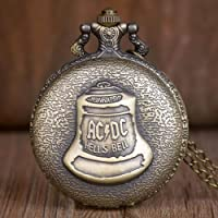 BOOSSONGKANG Montre de Poche Top Bronze Hell Clock ACDC Mode Quartz Pocket Watch Arabe Numérique Collier Hommes Femmes…