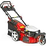 HECHT Benzin-Rasenmäher 5483 SWE 3-Rad Rasenmäher + Elektro-Start Funktion (3,7 kW (5,0 PS), Schnittbreite 46 cm, 60 Liter Fangkorbvolumen, Radantrieb)