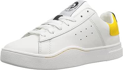 DIESEL Donna - Sneakers in Pelle Bianca con Tallone Giallo - Numero 39