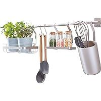 iDesign Austin rangement cuisine à fixer au mur, étagère murale en métal pour épices et ustensiles de cuisine, argenté…