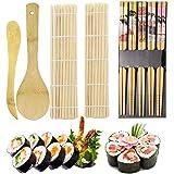 ZFYQ Kit per Fare Sushi in bambù, 9 Pezzi, Tappetino per Arrotolare Il Sushi, Include 2 Tappetini in bambù, 5 Paia di Bacchet