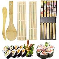 ZFYQ Kit à Sushi, Kit de Fabrication de Sushi en Bambou, 9 Pièces