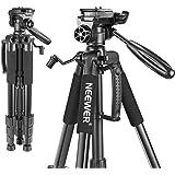 Neewer Bärbar 56 tum/142 centimeter aluminium kamerastativ med 3-vägs svängbart pannhuvud, väska för DSLR-kamera, DV videokam