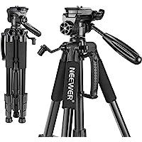 Neewer Treppiedi per Fotocamera Portatile 142cm in Lega di Alluminio con Testa Piatta Girevole in 3 Modi, Borsa di…