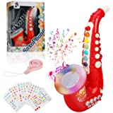 Yideng Saxophone Jouet pour Enfants, Saxophone 8 Notes en Plastique avec Instruments de Musique de Musique Jouet éducatif pré
