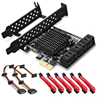 SupaGeek 6 Ports PCIe SATA Card, PCIe x1 Non Raid Controller Card for SATA III 6G Hard Drives, Includes 6 SATA Cables and 2 SATA Power Splitter Cables, Boot as System Disk