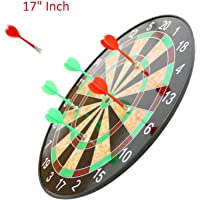 Magnetic Dartboard Set - 17 Inch Dart Board with 6 Magnet Darts for Kids and Adults, Gift for Game Room, Office, Man Cave and Home