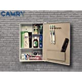 Burhani Camry Storage Cabinet for Bathroom with Mirror 4 Shelves, Tooth Brush Holder and Acrylic Material Used. (White)