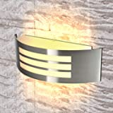 Stainless Steel LED Wall Light IP44 Indoor Outdoor Sconce Lamp E27 Curved Stylish Spotlight 12W Warm White Mains Powered,1 Un