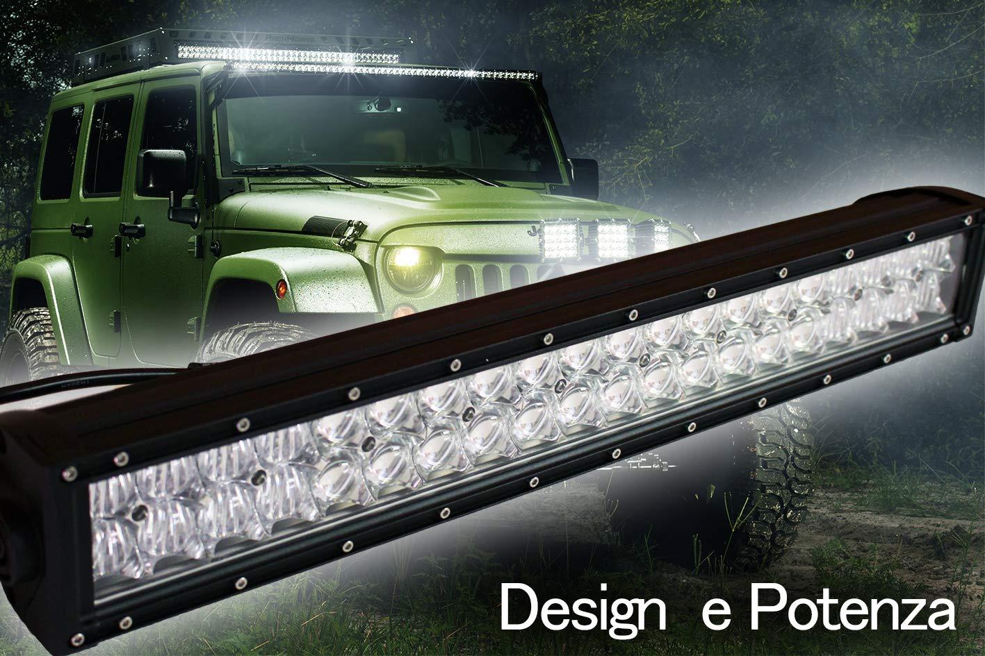 Barra Led 180W 795mm 9V-60V Doppia Fila 60X3W Lente Combo IP67 Per Fuoristrada SUV Camper