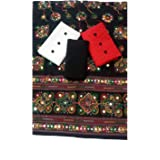 Sheetal Online Women's Unstitched Cotton Dress Materials Combo of 2 Top (Red, White), 1 Bottom (Black), 1 Dupatta (Black…