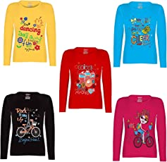 Kiddeo Girl's Cotton Full Sleeve T-Shirts - Pack of 5