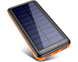 Pxwaxpy Solar Power Bank 26800mAh, Solar Charger 【Type C & Micro USB Input】 High Capacity Portable Charger Fast Charge Extern