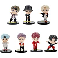 Blue Aura BTS BT21 Bangtan Boys Set of 7 Action Toy Figure Collectible Height - 7.8 cm Multi Color NOT for Kids (Dancing…