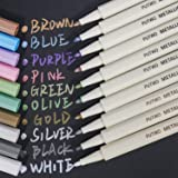 PuTwo Metallic Marker Pens, 10 Assorted Colours Water Proof Metalic Marker Pens, Metallic Markers, Metallic Pens, Metallic Paint Pens, Multi Surfaces Metallic Paint Marker for Scrapbooking, Cardstock